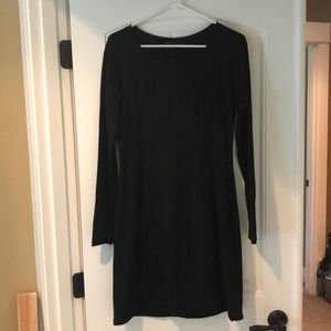 Prana long sleeve black cotton A-line dress